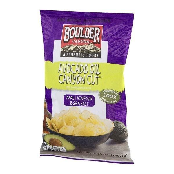 "Potato Chips, Boulder Canyon™ ""Regular Size"" Avocado Oil Potato Chips with Malt Vinegar & Sea Salt (6.5 oz Bag)"