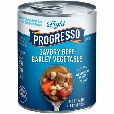 Canned Soup, Progresso® Light® Savory Beef Barley Vegetable  Soup (18.5 oz Can)