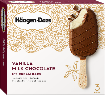 Ice Cream Bars, Haagen-Dazs® Vanilla Milk Chocolate Ice Cream Bars (3 Per Box)