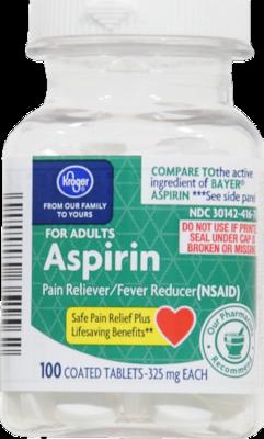 Pain Killer, Kroger® Aspirin (100 Count Bottle)