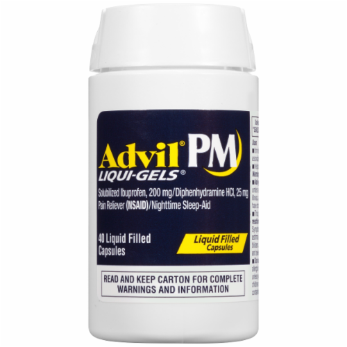 "Pain Killer, Advil® PM ""Ibuprofen and Diphenhydramine"" Liquid Filled Capsules (40 Count Bottle)"