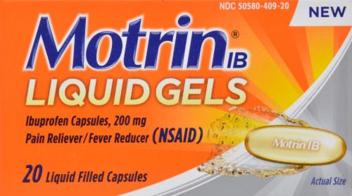 """Pain Killer, Motrin® """"Ibuprofen"""" Liquid Filled Capsules (20 Count Box)"""