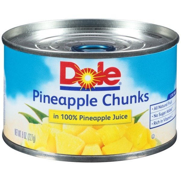 Canned Fruit, Dole® Pineapple Chunks in 100% Juice (8 oz Can)