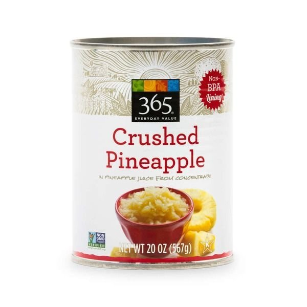 Canned Fruit, 365® Organic Crushed Pineapple in 100% Fruit Juice (20 oz Can)