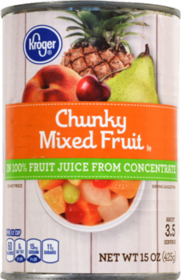 Canned Fruit, Kroger® Chunky Mixed Fruit in 100% Fruit Juice (15 oz Can)