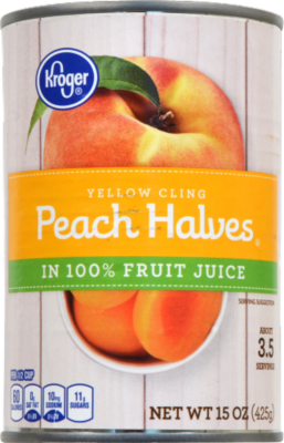 Canned Fruit, Kroger® Yellow Peach Halves in 100% Fruit Juice (15 oz Can)