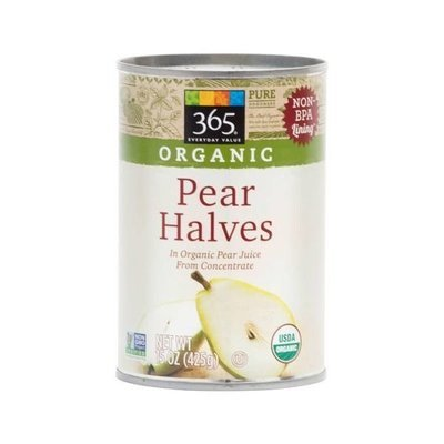Canned Fruit, 365® Organic Pear Halves in 100% Fruit Juice (15 oz Can)