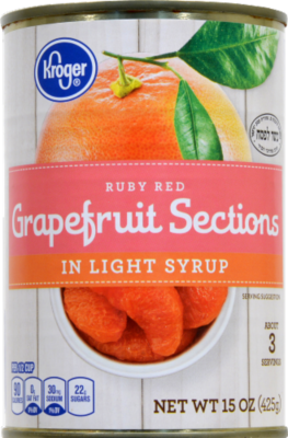 Canned Fruit, Kroger® Ruby Red Grapefruit Sections in Light Syrup (15 oz Can)