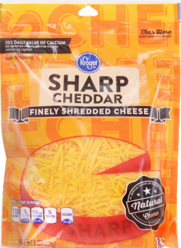 Shredded Cheese, Kroger® Finely Shredded Sharp Cheddar Cheese (8 oz Resealable Bag)