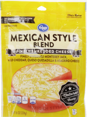 Shredded Cheese, Kroger® Finely Shredded Mexican Style Cheese (8 oz Resealable Bag)