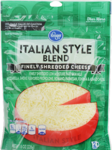Shredded Cheese, Kroger® Finely Shredded Italian Style Cheese (8 oz Resealable Bag)