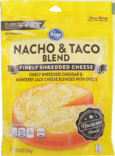 Shredded Cheese, Kroger® Finely Shredded Nacho & Taco Blend Cheese (8 oz Resealable Bag)