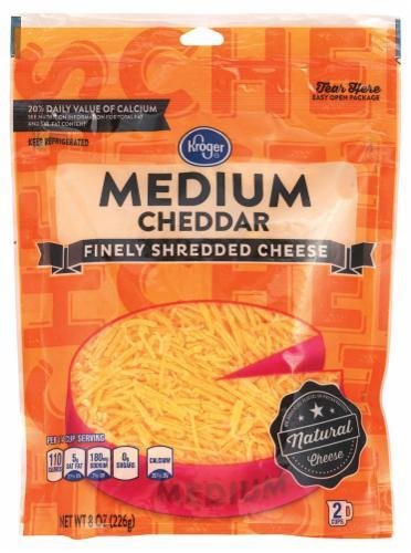 Shredded Cheese, Kroger® Finely Shredded Medium Cheddar Cheese (8 oz Resealable Bag)