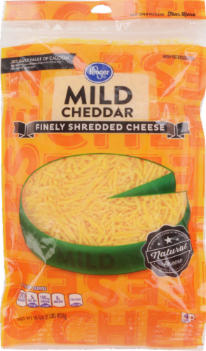 Shredded Cheese, Kroger® Finely Shredded Mild Cheddar Cheese (16 oz Resealable Bag)