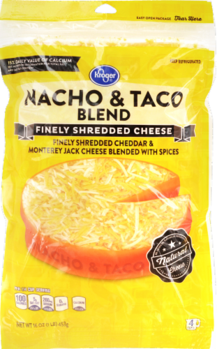 Shredded Cheese, Kroger® Finely Shredded Nacho & Taco Blend Cheese (16 oz Resealable Bag)