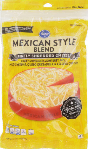 Shredded Cheese, Kroger® Finely Shredded Mexican Style Cheese (16 oz Resealable Bag)