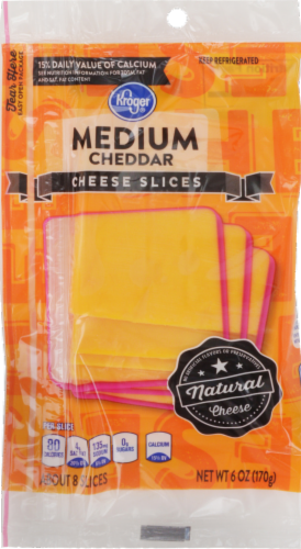 Cheese, Kroger® Sliced Medium Cheddar Cheese (6 oz Resealable Bag)