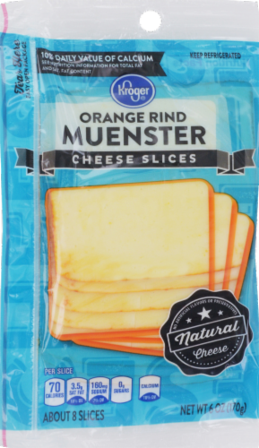 Cheese, Kroger® Sliced Orange Rind Muenster Cheese (6 oz Resealable Bag)