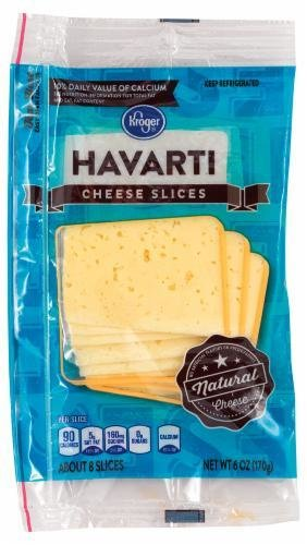 Cheese, Kroger® Sliced Havarti Cheese (6 oz Resealable Bag)