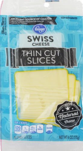 Cheese, Kroger® Thin Sliced Swiss Cheese (6 oz Resealable Bag)