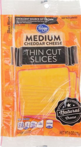 Cheese, Kroger® Thin Sliced Medium Cheddar Cheese (6 oz Resealable Bag)