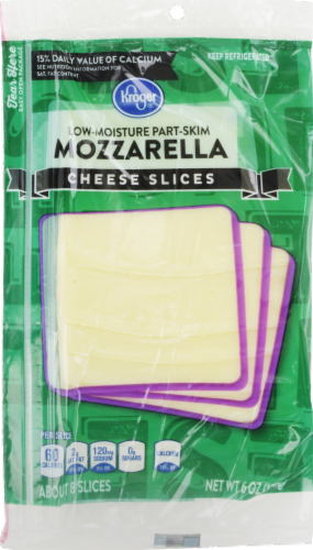 Cheese, Kroger® Sliced Mozzarella Cheese (6 oz Resealable Bag)