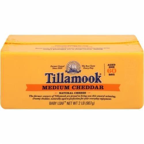 Cheese Block, Tillamook® Block of Medium Cheddar Cheese (32 oz Bag)