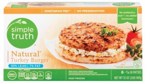 Frozen Turkey Burgers, Simple Truth™ Natural Turkey Burgers (32 oz Box)
