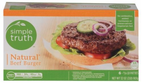 Frozen Beef, Simple Truth™ Natural Beef Burgers (32 oz Box)