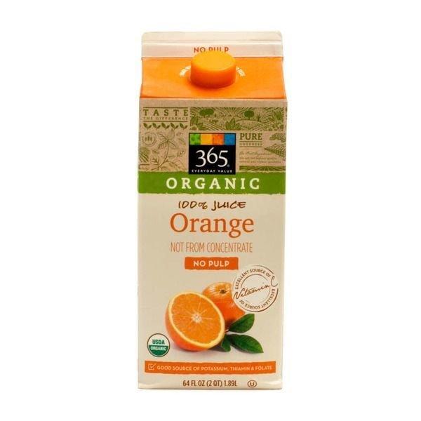 Juice Drink, 365® Organic Orange Juice with No Pulp (64 oz Carton)