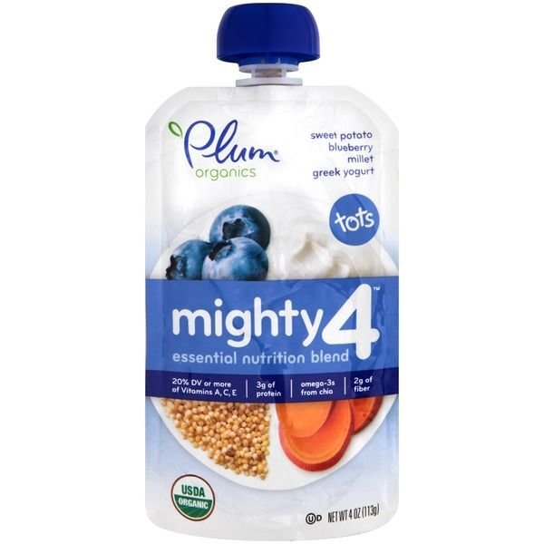 Baby Food, Plum Organics® Mighty 4® Sweet Potato, Blueberry, Millet, Yogurt Baby Food (4 oz Bag)