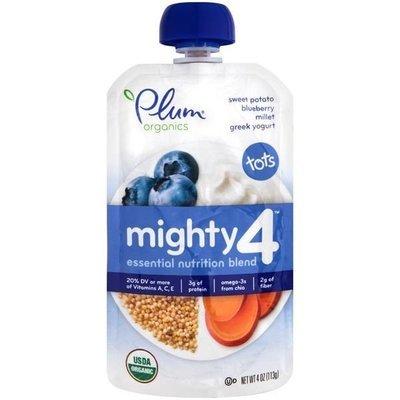Baby Food, Plum Organics® Mighty 4® Sweet Potato, Blueberry, Millet, Yogurt Baby Food (4 oz Bag)