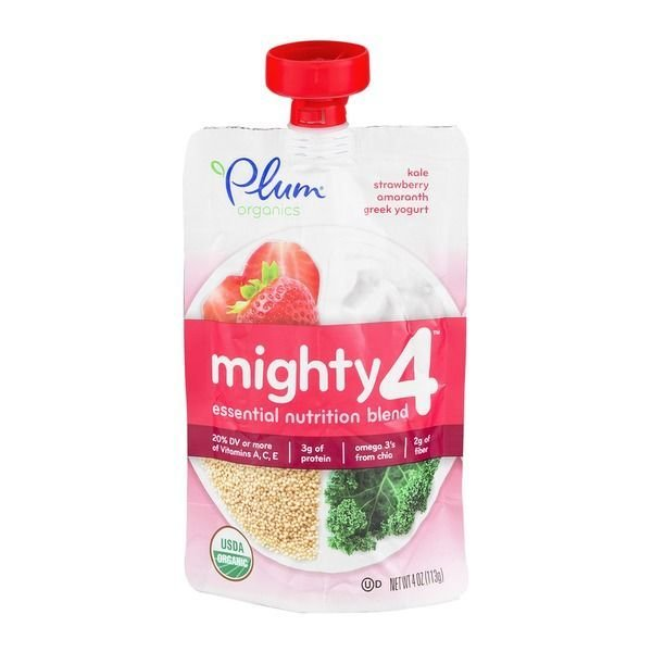 Baby Food, Plum Organics® Mighty 4® Kale, Strawberry, Amaranth, Yogurt Baby Food (4 oz Bag)