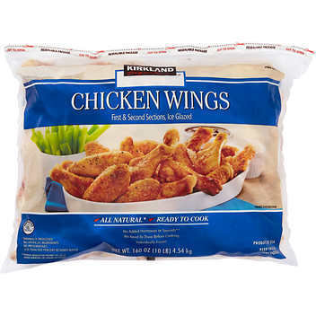 Frozen Chicken, Kirkland® Uncooked Chicken Wings (10 Pounds = 160 oz Bag)