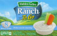 "Salad Dressing, Hidden Valley Ranch® Original ""Ranch To Go"" (8 Cups, 12 oz Box)"