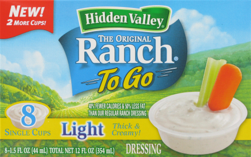 "Salad Dressing, Hidden Valley Ranch® Light ""Ranch To Go"" (8 Cups, 12 oz Box)"