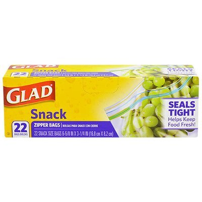 Food Storage Bags, Glad® Snack Size Zipper Seal Bags (Box of 22 Bags)