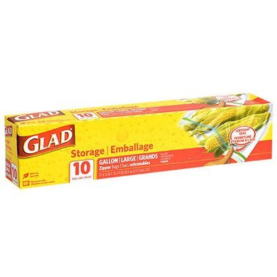 Food Storage Bags, Glad® Gallon Size Zipper Seal Bags (Box of 10 Bags)