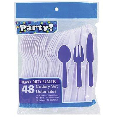 Dinnerware, White Plastic Utensils (16 Spoons, 16 Forks and 16 Knives)