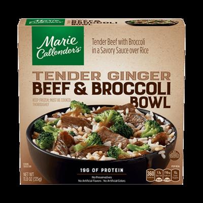 Frozen Dinner, Marie Callender's® Tender Ginger Beef & Broccoli Bowl (11.8 oz Box)