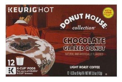 K Cup Coffee, Donut House® Chocolate Glazed Donut Coffee K Cup (Box of 12 Single K Cups)