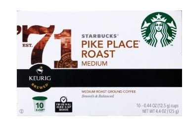 K Cup Coffee, Starbuck's® Pike Place Roast Coffee (Box of 10 Single K Cups)
