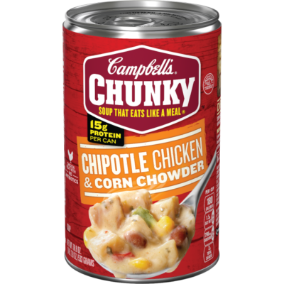 Canned Soup, Campbell's® Chunky® Chipotle Chicken & Corn Chowder (18.8 oz Can)