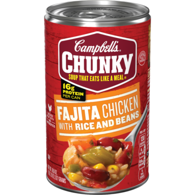Canned Soup, Campbell's® Chunky® Fajita Chicken with Rice and Beans (18.8 oz Can)