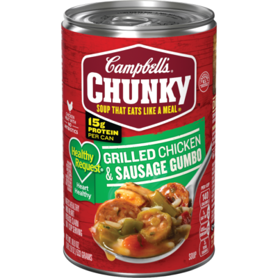 Canned Soup, Campbell's® Chunky® Healthy Request Grilled Chicken & Sausage Gumbo Soup (18.8 oz Can)