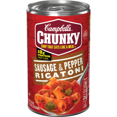 Canned Soup, Campbell's® Chunky® Sausage & Pepper Rigatoni Soup (18.8 oz Can)