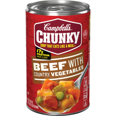 Canned Soup, Campbell's® Chunky® Beef with Country Vegetables Soup (18.8 oz Can)