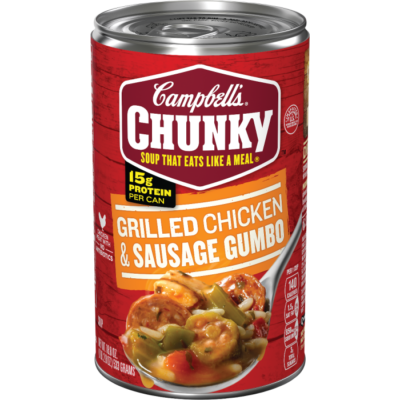 Canned Soup, Campbell's® Chunky® Grilled Chicken and Sausage Gumbo (18.8 oz Can)