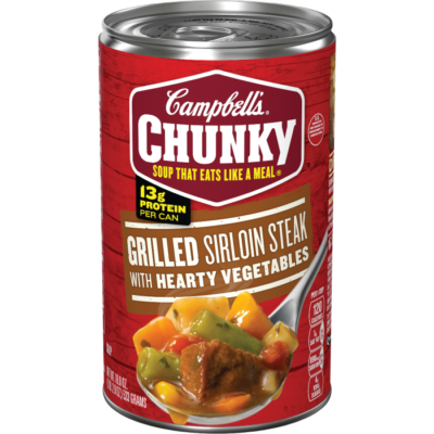 Canned Soup, Campbell's® Chunky® Grilled Sirloin Steak with Hearty Vegetables Soup (18.8 oz Can)