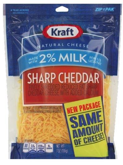 Shredded Cheese, Kraft® Shredded 2% Milk Sharp Cheddar (8 oz Resealable Bag)